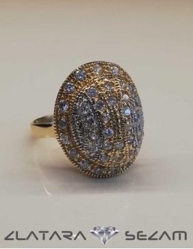 Prsten od žutog i belog zlata sa cirkonima