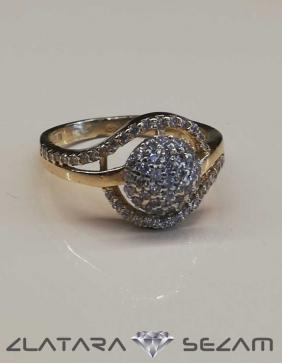 Prsten od žutog zlata sa cirkonima