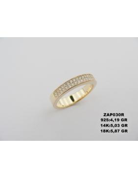 Trodelni prsten od žutog zlata