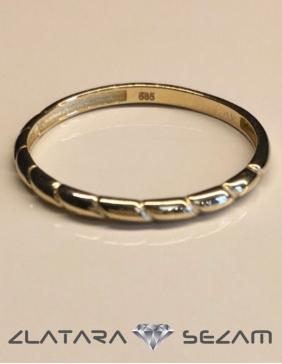 Prsten bez cirkona, zuto zlato