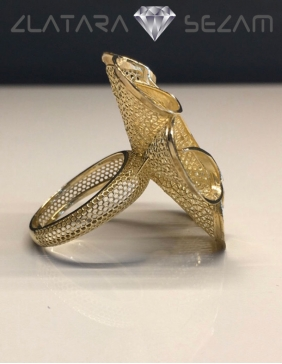 Ekskluzivni prsten-cvet od zutog zlata, rucna izrada