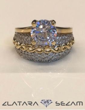 Ekskluzivni prsten sa cirkonima, žuto zlato