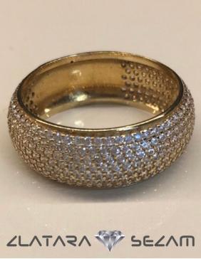 Okrugli prsten sa cirkonima, žuto zlato