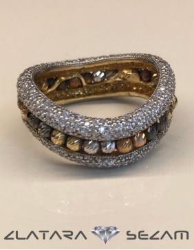 Prsten sa kulgicama od belog, žutog i roze zlata